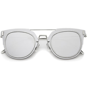 FIYAH WIRE FLAT FRAME MIRROR SUNGLASSES - SILVER