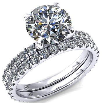 Alessi Round Moissanite 4 Claw Prong 3/4 Micro Pave Engagement Ring