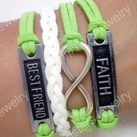 Unlimited leather bracelet, fashion jewelry, FAITH and BESTFRIEND leather bracelet is the best gift a friend.