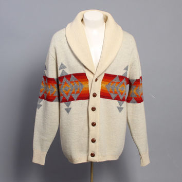 60s PENDLETON Native Navajo SWEATER / Shawl Collar Men's Cardigan, L