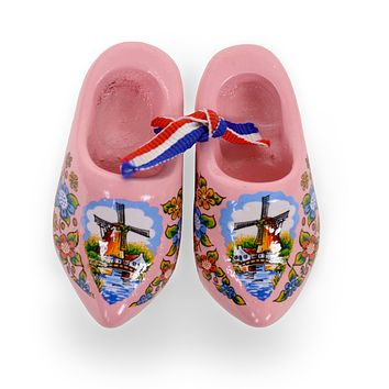 Wooden Doll Shoes Pink And Windmill  Deisgn