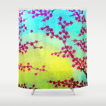 Sunrise Cherry Blossoms Shower Curtain by ArtLovePassion