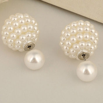 women double pearl clip on earrings  jewelry Multi-Color ear cartilage statement stud earrings