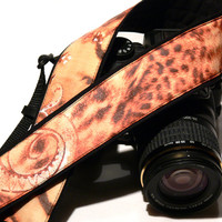 dSLR Camera Strap. Beige Brown White Peach Camera Strap. Leopard Paisley Camera Strap. Camera Accessories