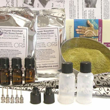 Ultimate Henna Tattoo Starter Kit 200 gm Henna Powder, Oil, Applicator Bottles, Transfer Paper, Book