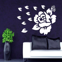 Flower Wall Decals Rose Butterfly Flowering Blossom Stickers Living Room Decor Vinyl Decal Sticker Art Mural Bedroom Kids Room Decor MR313