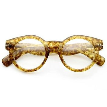 Hipster Retro P3 Optical RX Keyhole Clear Lens Round Glasses 9614