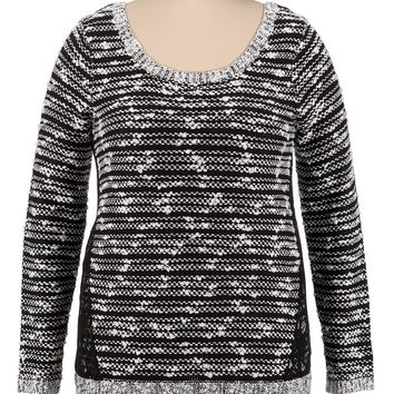 Plus Size - Textured Sweater With Lace - Black