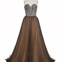 Custom Crytals Tulle Brown Long Prom Dresses Bridal Gowns Formal Wedding Dresses 2014 Evening Gowns Fashion Party Dress Cocktail Dresses