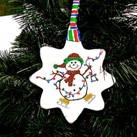 Snowman On Skates Christmas Tree Ornament