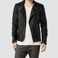 Mens Kushiro Leather Biker Jacket (Black) | ALLSAINTS.com