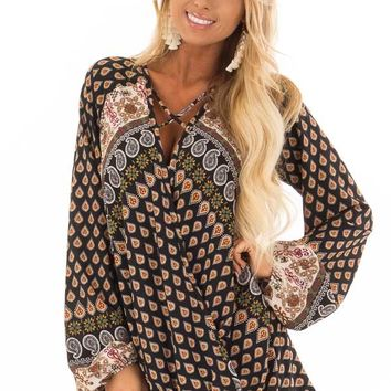 Black Long Sleeve Paisley Blouse With Criss Cross Detail