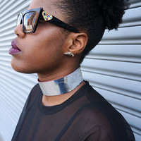 Cracked Silver Leather Choker Necklace