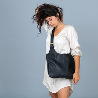 Black Leather Bag - CrossBody Bag - Soft Leather Tote Bag - Tote Bag with a Matching Black Leather MakeUp Bag - Liem Bag