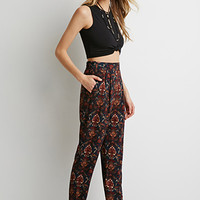 Pleated Baroque Print Pants