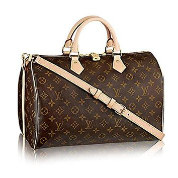 LV Women Shopping Leather Tote Louis Vuitton Monogram Crosss Body Leather Handles Handbag Canvas Handbag Speedy Bandouliere 35 Article: M41111