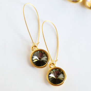 Black Diamond Swarovski Crystal Earrings, Crystal and Matte Gold Earrings, Minimalist Earrings, Prism Earrings, JewelryFineAndDandy SRAJD