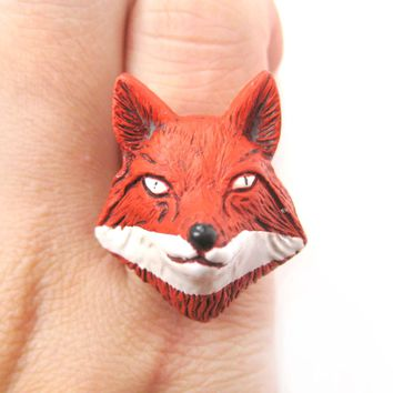 Adjustable Fox Head Shaped Handmade Porcelain Ceramic Animal Ring | DOTOLY