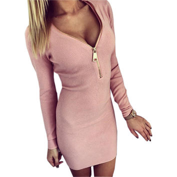 Sexy Knitted Long Sleeve Bodycon Zipper neck Dress