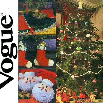 Victorian Christmas Sewing Pattern Uncut Vogue 2776 Tree Skirt Angel Tree Topper Stockings Santa Pilows Ornaments Vintage Sewing Patterns