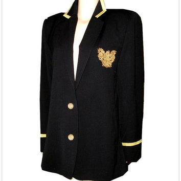 Vintage 80s CRISCIONE Italy Black Gold Crest Light Wool Captain's Blazer. Military Blazer. Nautical Black Gold Preppy Blazer w Crest