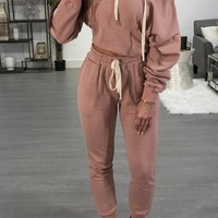 Pink 2-in-1 Long Sleeve Hooded Fashion Long Jumpsuit