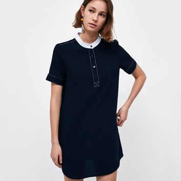 DRESS WITH TOPSTITCHING AND HENLEY PLACKETDETAILS
