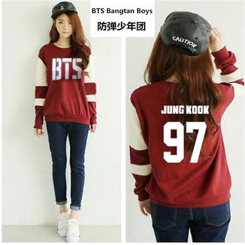 Kpop bts Bangtan Boys Long sleeve hoodies women bts 2016 printed epilogue fans support or neck sweatshirt plus size tracksuits