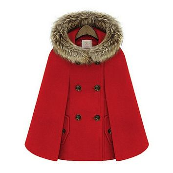 New Retro 2015 Winter Coats For Women British Style Cap Shawl Cloak Cape Femme Women Wool Coat  A872