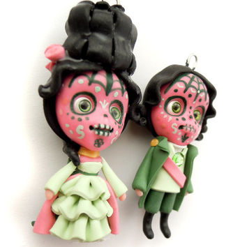 SALE - Marie Antoinette and Companion - Sugar Skulls - Pink and Green - Miniature Sculptures - Doll Ornaments
