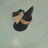 green onyx set bronze triangle ring