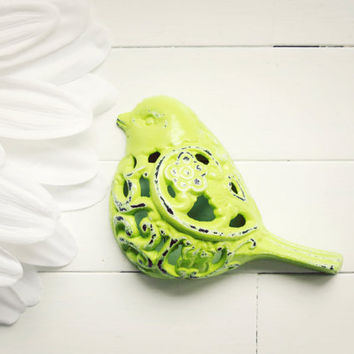Filigree Bird / Bird Decor / Shabby Chic Wall Decor / Hanging Bird Decor /  Woodland Decor / Garden Bird / Lime Green Home Decor / Unique