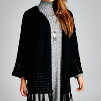 Hooded Knit Cardigan - Black