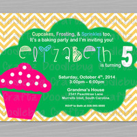 Baking Birthday Party Invitation - Cupcake - Sweet Tooth - Personalized Custom - Printable 4x6 or 5x7 Image - 24hr turnaround