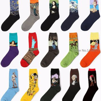 Men's cotton long socks Creative painting Mona Lisa/Starry night/scream/Angel/Tsunami leisure elite kiss gift art Socks
