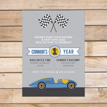 Child's Birthday Party Invitation - 5x7 Printable PDF Digital File OR Custom Printed Hardcopies - Boys Racing Cars Design