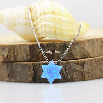 (1pc/lot)OP06 Light Blue Star Opal Necklace 10mm David Star Necklace 925 sterling silver david of star opal necklace