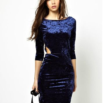 Navy Blue Cut Out Sleeve Bodycon Velvet Dress