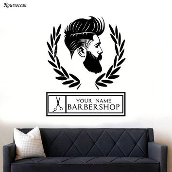 Personalised Store Name For Barber Shop Hipster Man Silhouette Wall Art Sticker Decal For Window Waterproof BA02