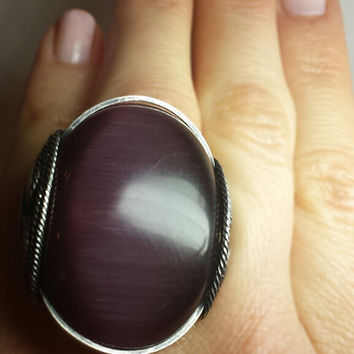 Purple Cats Eye Ring, Dark Sterling Silver, Plum Glass, Custom Sized, Fall Statement, Chunky Finger Candy