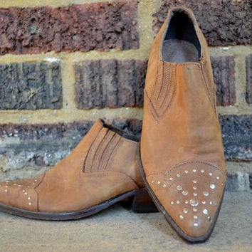 Vintage 80's Brown Leather Studded Toe Hipster Goth Cowboy Ankle Boots, 7