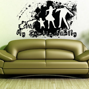 Vinyl Wall Decal Sticker Zombie Grunge Family #5029