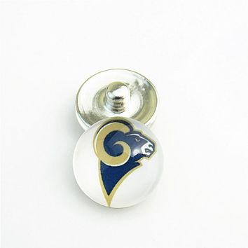Fashion football St. Louis Rams team Logo Glass Snap Button Charms for 18mm Snap Button Jewelry Bracelet