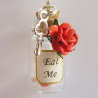 Eat Me Bottle Necklace Miniature Food Pendant - Miniature Food Jewelry