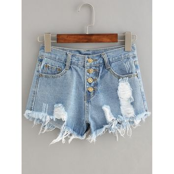 Button Fly Distressed Denim Shorts.