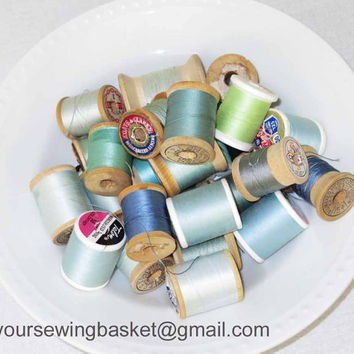 Blue Vintage Thread Spools, Wooden Spools, Vintage Thread, Vintage Spools, Group of 20 Spools