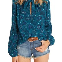 Billabong Birds on High Print Tie Neck Blouse | Nordstrom