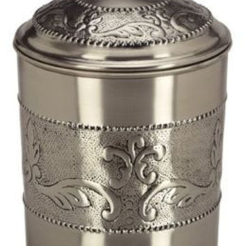 6.75 x 7.5 Antique Embossed Pewter Cookie Jar 4 Qt