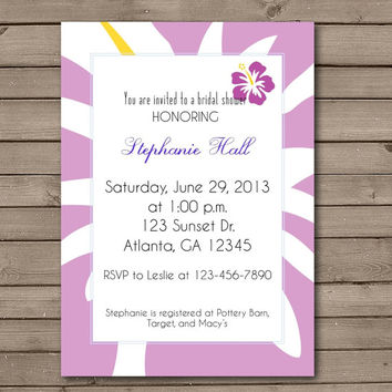 Purple Hawaiian Bridal Shower Invitations