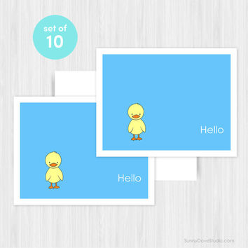 Duck Hello Greeting Card Set Blank Handmade Notecards Note Cards Notes Boxed Set Stationery Gifts For Friend Her Teacher Hostess Pack of 10